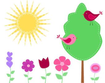 Bird clipart flower. Instant download digital clip