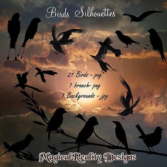 Bird clipart magical. Birds silhouettes digital scrapbook