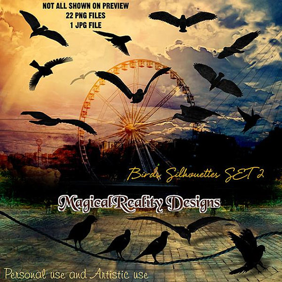 Birds silhouettes set artistic. Bird clipart magical