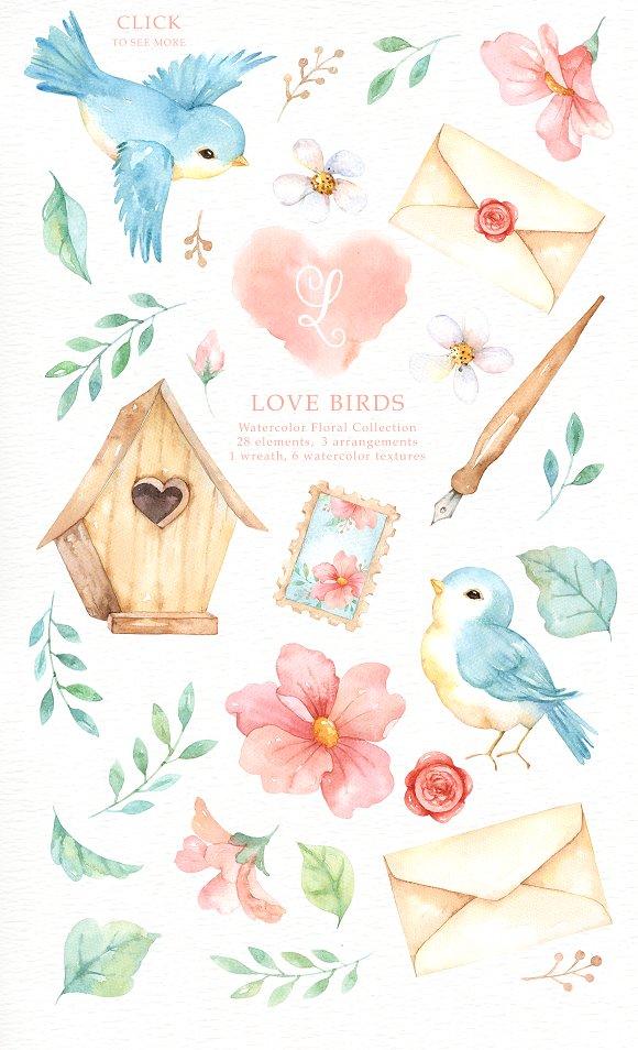 Love birds watercolor cliparts. Bird clipart magical