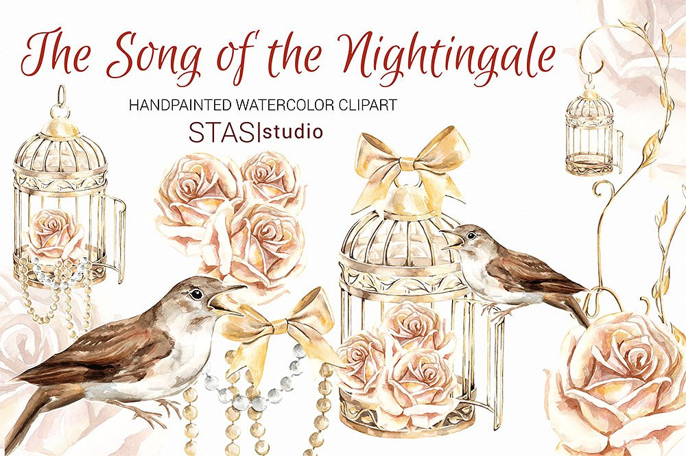 Bird clipart nightingale. Gold cage illustrations creative