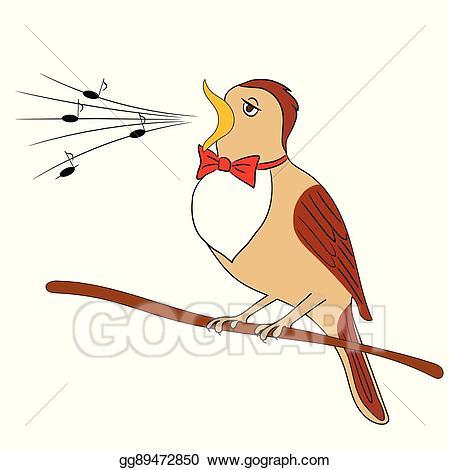 Birds clipart nightingale. Vector bird illustration gg