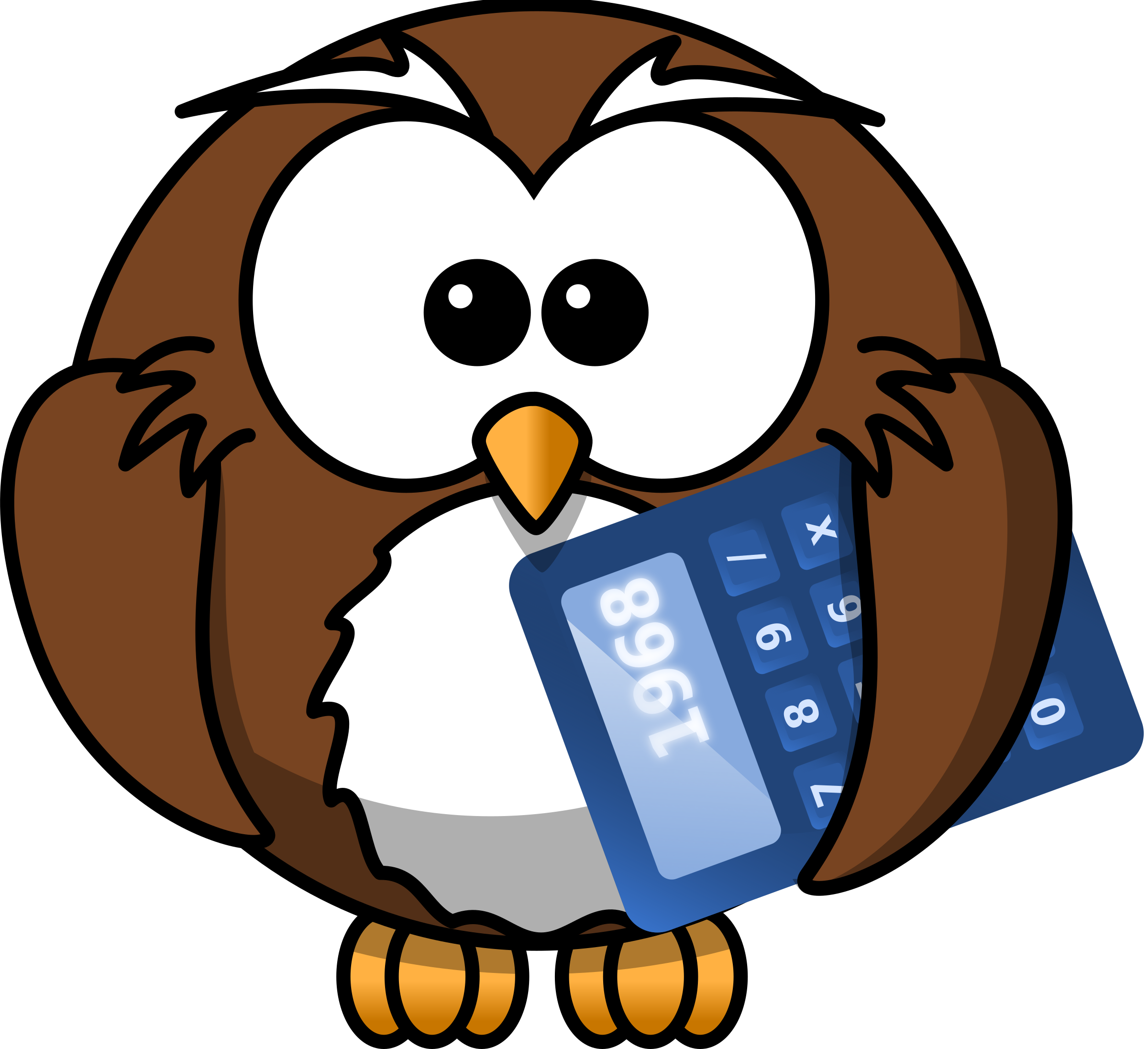 Owl with calculator big. Math clipart tool