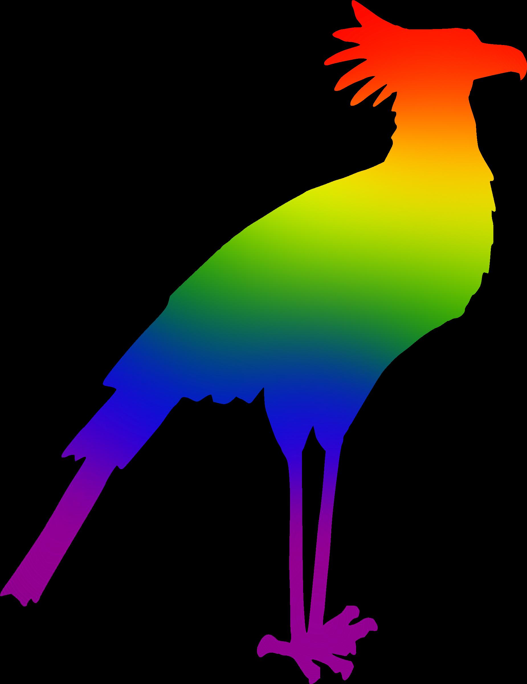 Secretary colours big image. Clipart rainbow bird