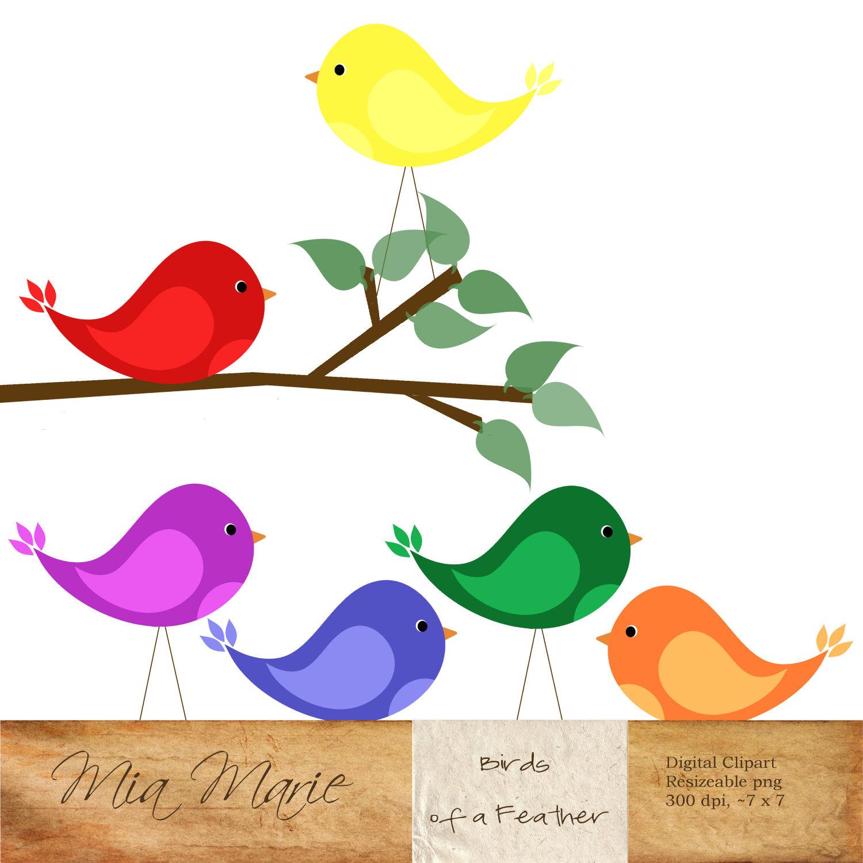 Birds clipart rainbow. Instant download digital clip