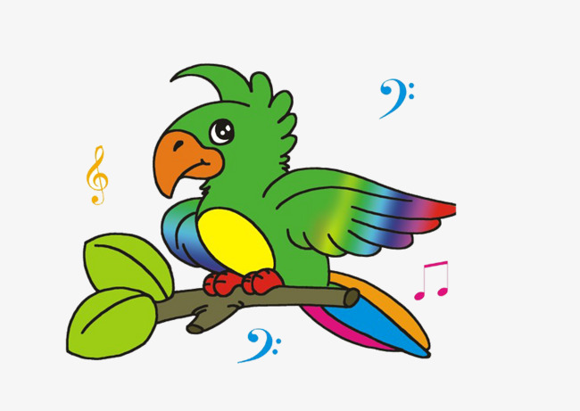 Birds clipart rainbow. On branches bird sing