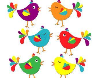 birds clipart rainbow