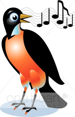Bird clipart red robin. Singing love