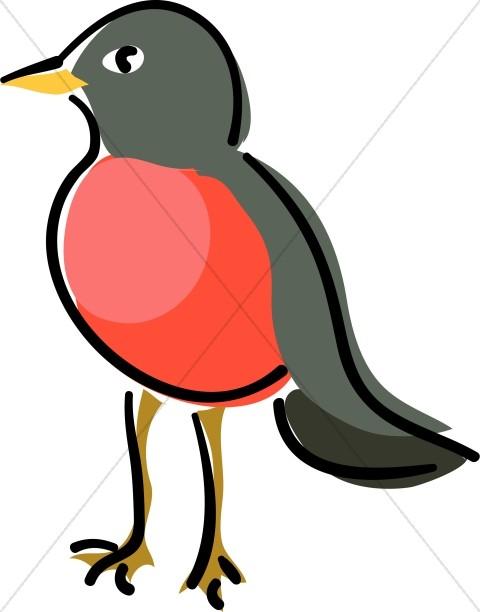 Birds clipart red robin. Standing wildlife