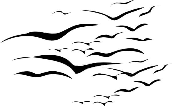 Flock of birds clip. Bird clipart simple