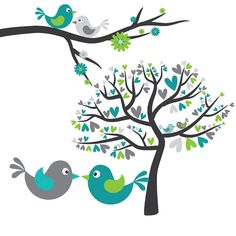 Turquoise yellow on flower. Bird clipart tree