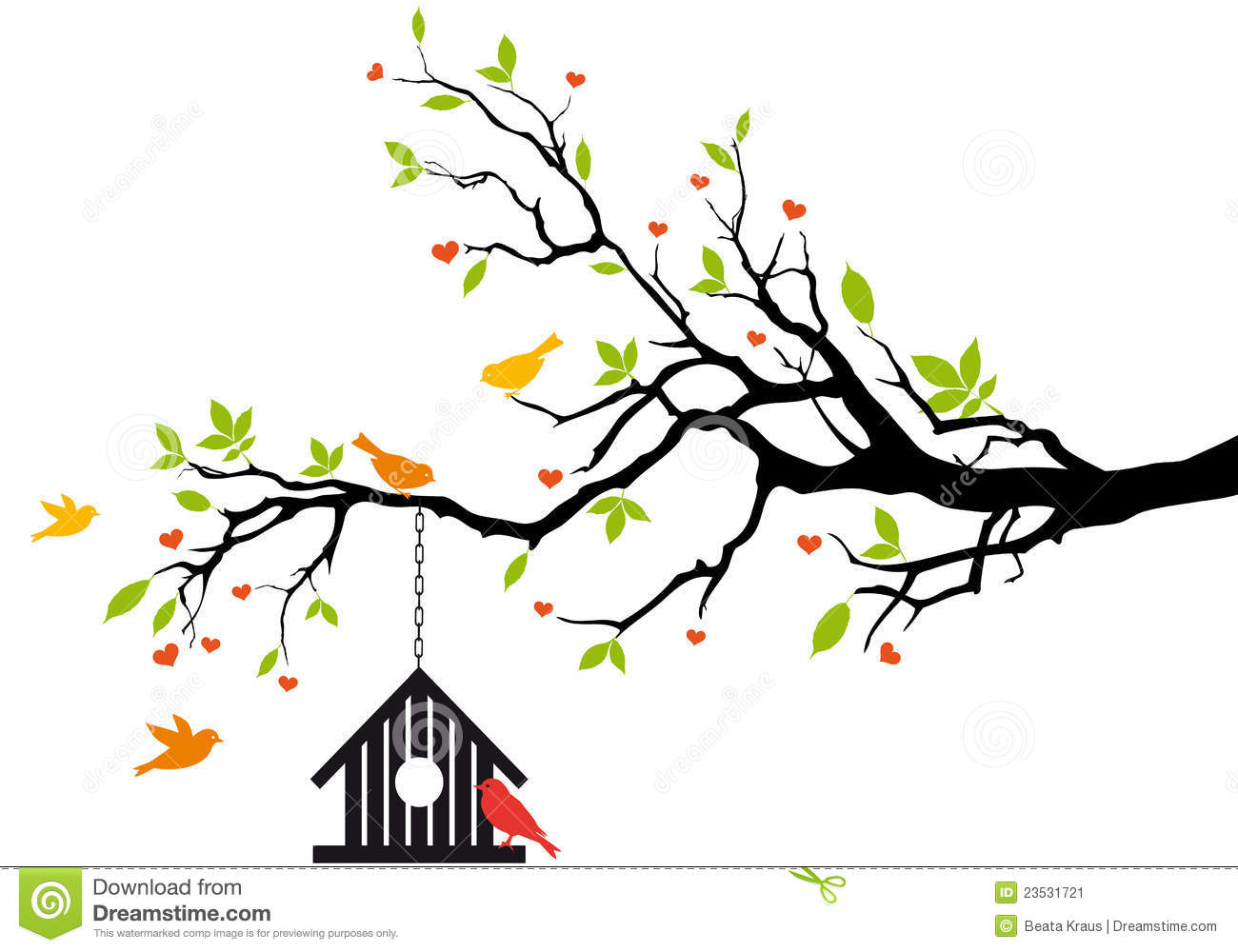 Silhouette with birds at. Birdhouse clipart tree clipart