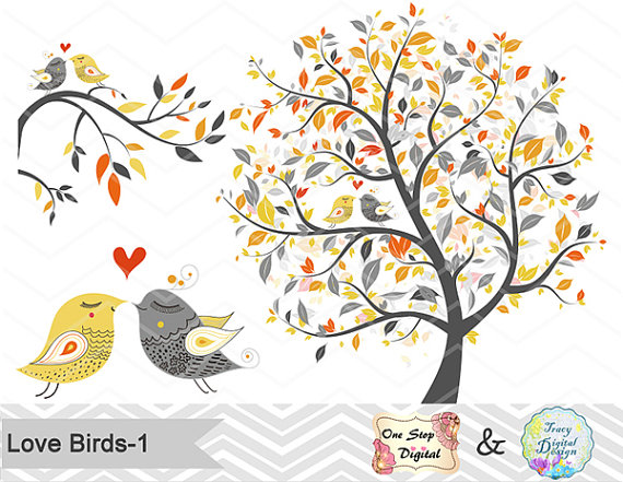 Bird clipart tree. Instant download birds yellow