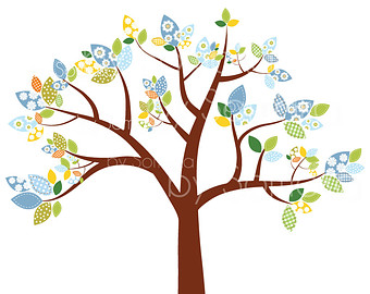 Woodland digital singing sing. Bird clipart tree