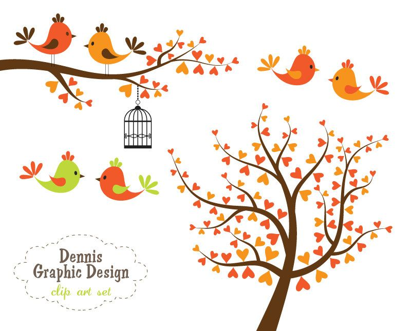 Buy get free heart. Bird clipart tree