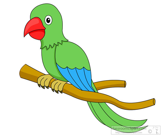 Animal green parrot red. Bird clipart tree