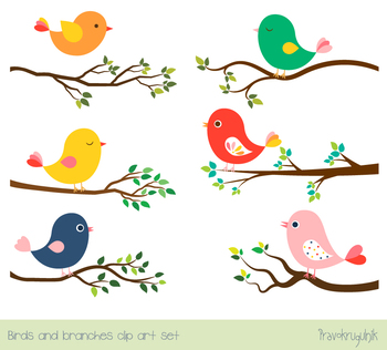 Bird clipart tree. Cute color birds set