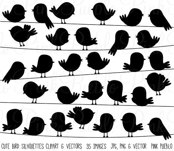 Cute bird silhouettes illustrations. Birds clipart vector