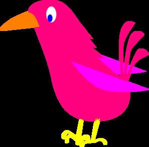 Pink clip art at. Bird clipart vector