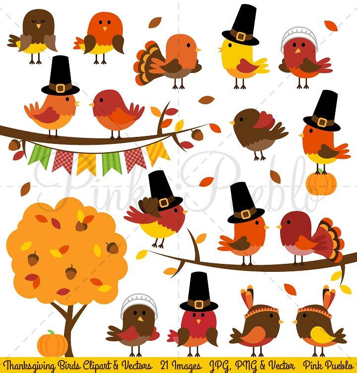 Birds clipart vector. Thanksgiving vectors illustrations creative