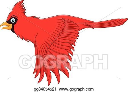 Bird clipart vector. Stock flying cardinal illustration
