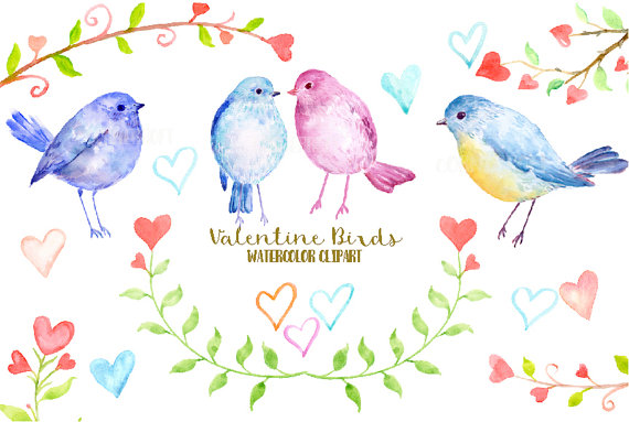 Birds clipart watercolor. Valentine tree branch with