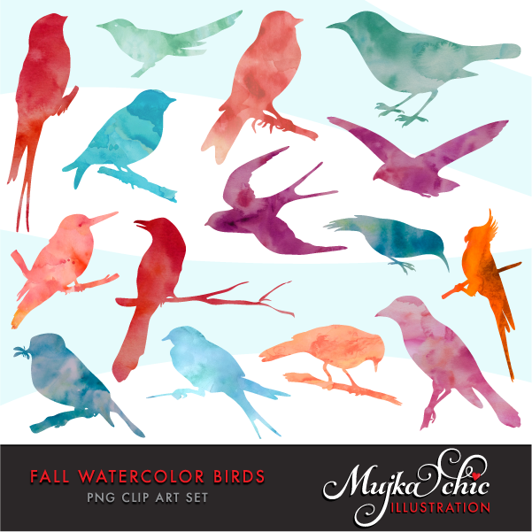 Fall mujka printable characters. Birds clipart watercolor
