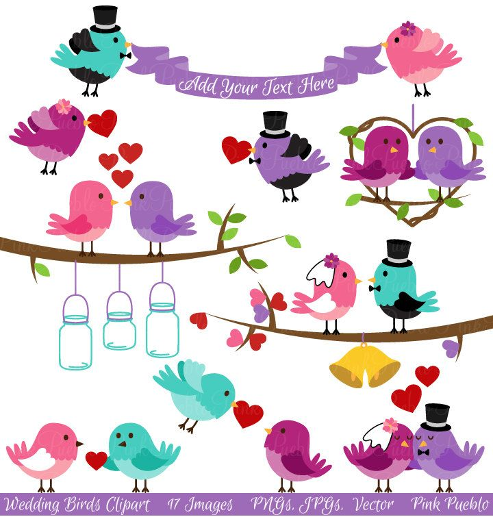 Birds clip art valentine. Bird clipart wedding