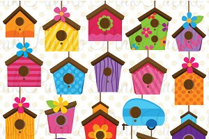 Birdhouse clipart. Cute and vectors illustrations