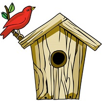 Free with red cardinal. Birdhouse clipart
