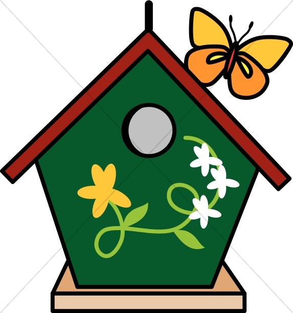 And butterfly nature. Birdhouse clipart