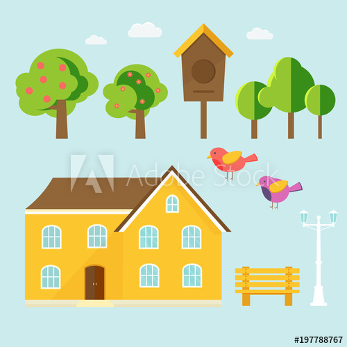 Spring background with cozy. Birdhouse clipart abstract