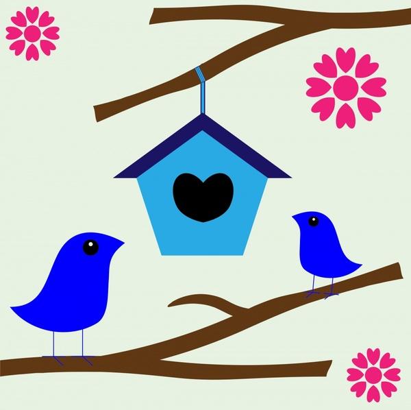 Romantic birds nest illustration. Birdhouse clipart abstract