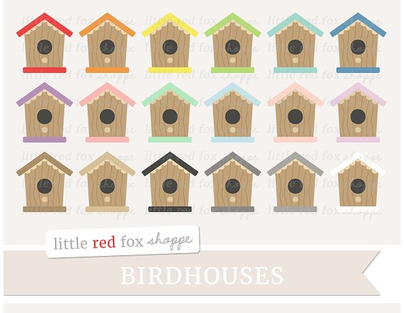 Birdhouse clipart abstract. Illustrations creative market