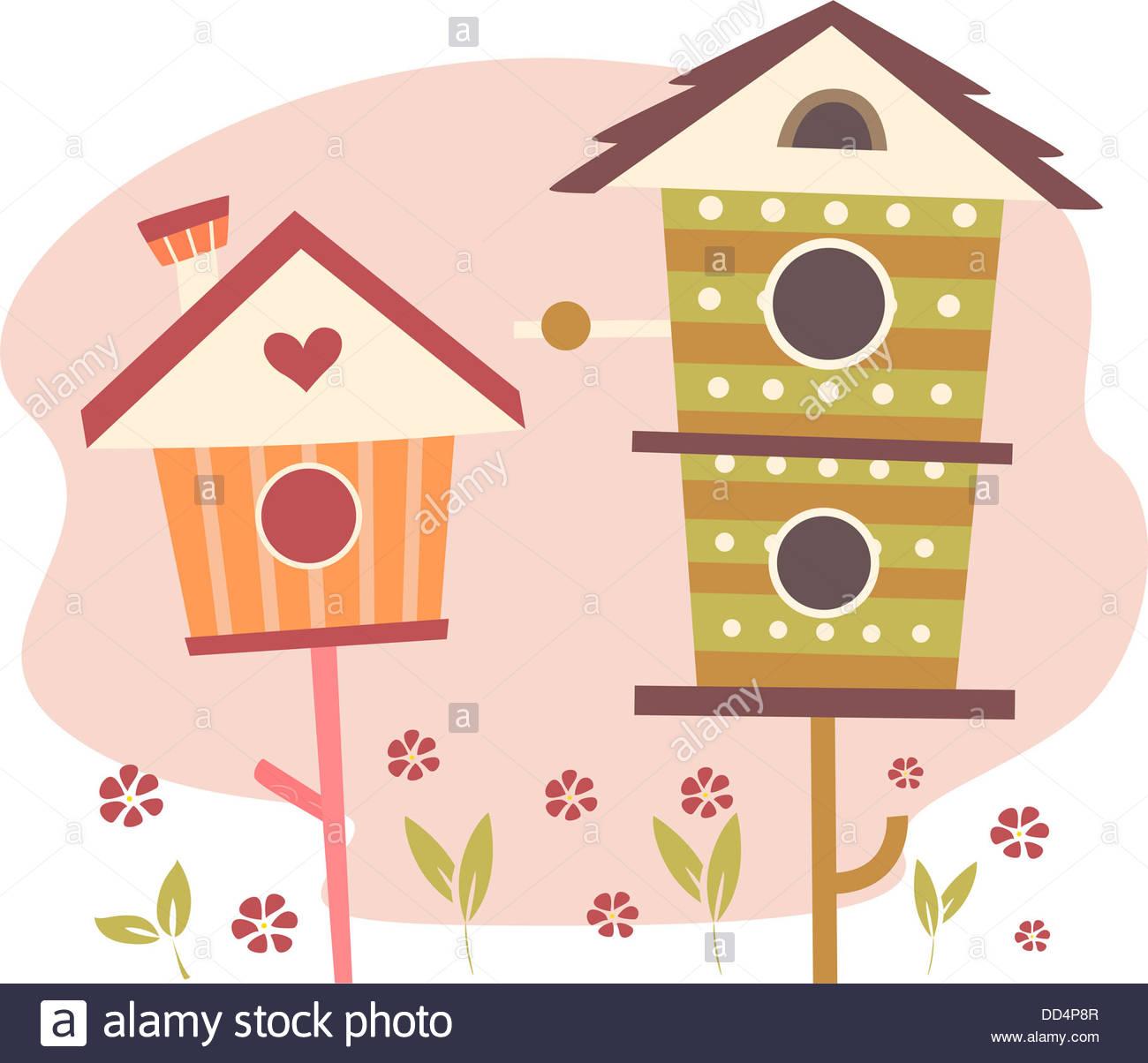 Cute bird houses for. Birdhouse clipart abstract
