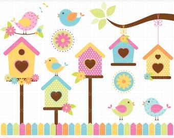 Etsy spring birds garden. Birdhouse clipart bird house