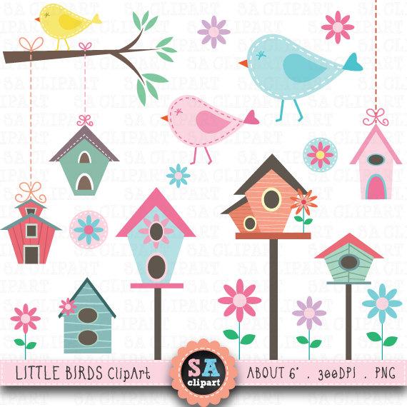 Little birds clip art. Birdhouse clipart bird house