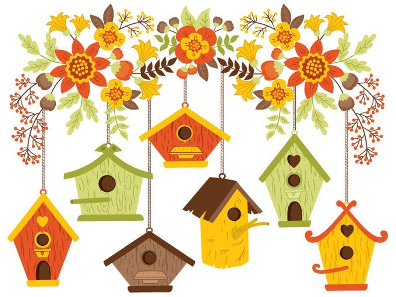 Digital vector flowers autumn. Birdhouse clipart bird house