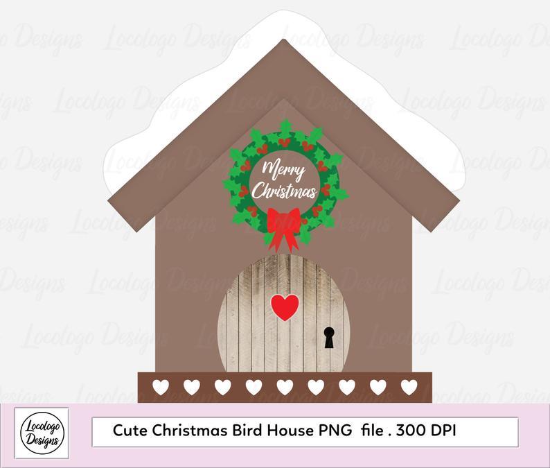Birdhouse clipart bird house. Christmas