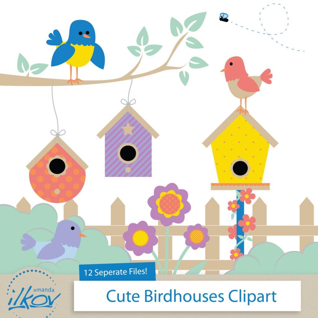 Birdhouse clipart bird house. Cute houses yellow and