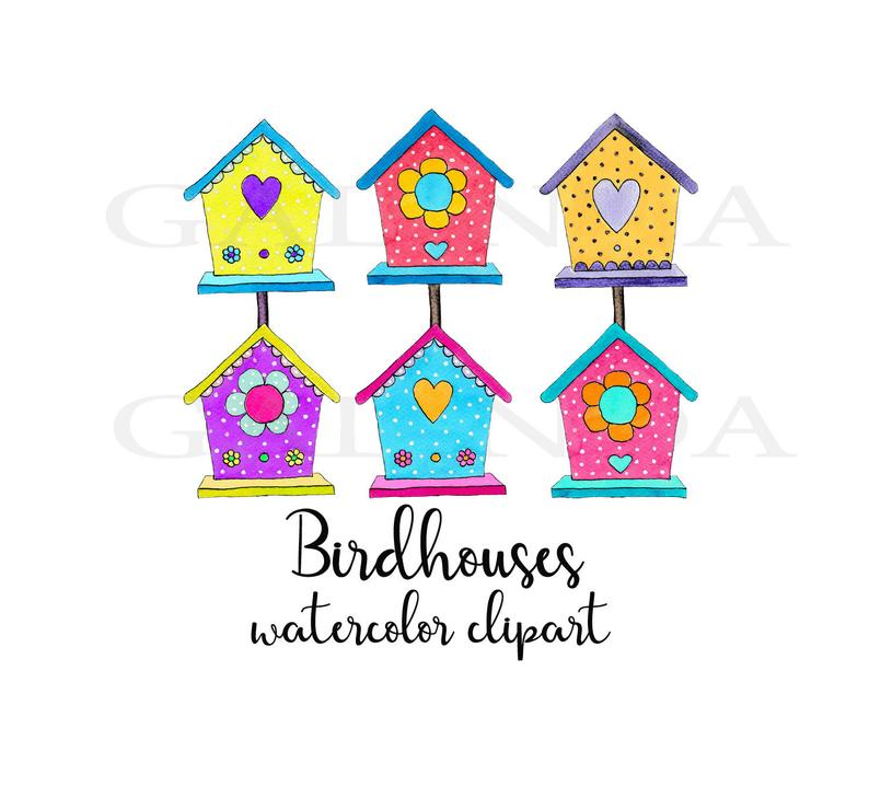 Birdhouse clipart boho bird. Birdhouses set homes house
