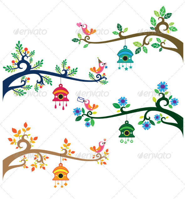 Birds on branches by. Birdhouse clipart border