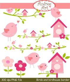 Birdhouse clipart border. Spring bird appligue aplike