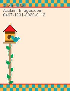 Bird in a image. Birdhouse clipart border