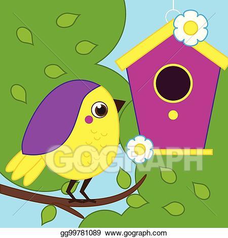Vector stock cartoon bird. Birdhouse clipart branch
