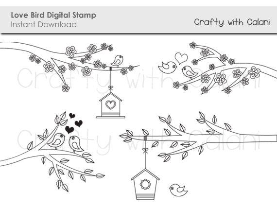 Love birds digital stamp. Birdhouse clipart branch
