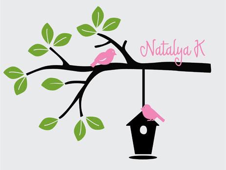 Birdhouse clipart branch. Tree wall design decals