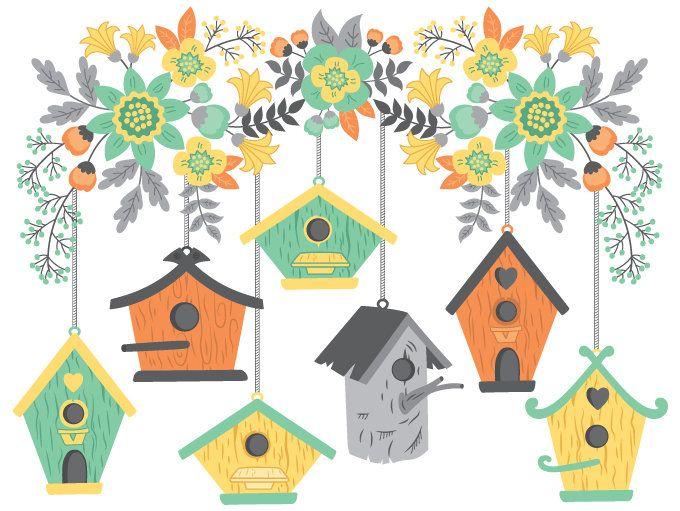 Birdhouse clipart branch. Bird house digital vector