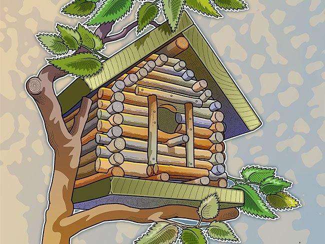 Build a log cabin. Birdhouse clipart building