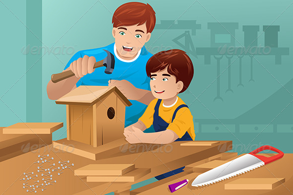Father son making a. Birdhouse clipart building